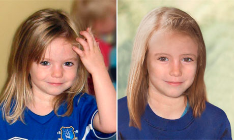 Madeleine McCann at 3 years of age (right) and aged composite to more recent possible look.